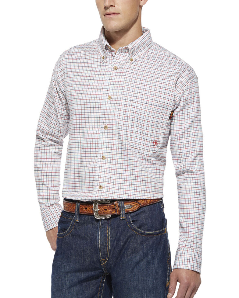 Ariat Men's Flame Resistant Gauge Plaid Long Sleeve Work Shirt - Big & Tall, White, hi-res