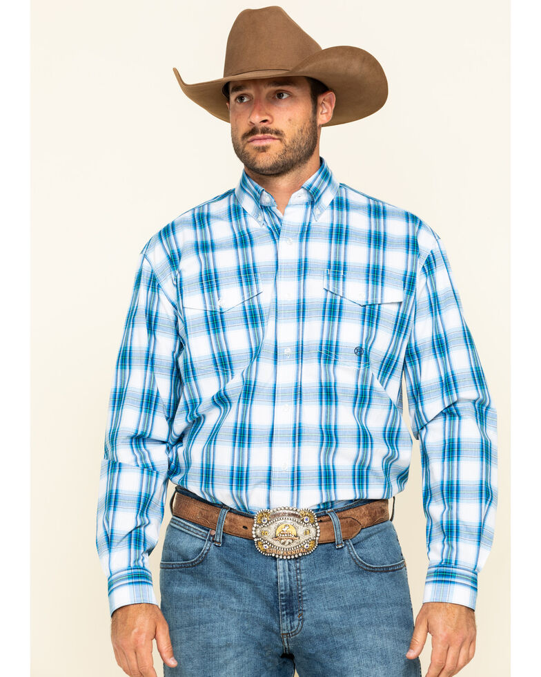 Roper Men's Amarillo Blue Brook Plaid Long Sleeve Western Shirt , Blue, hi-res
