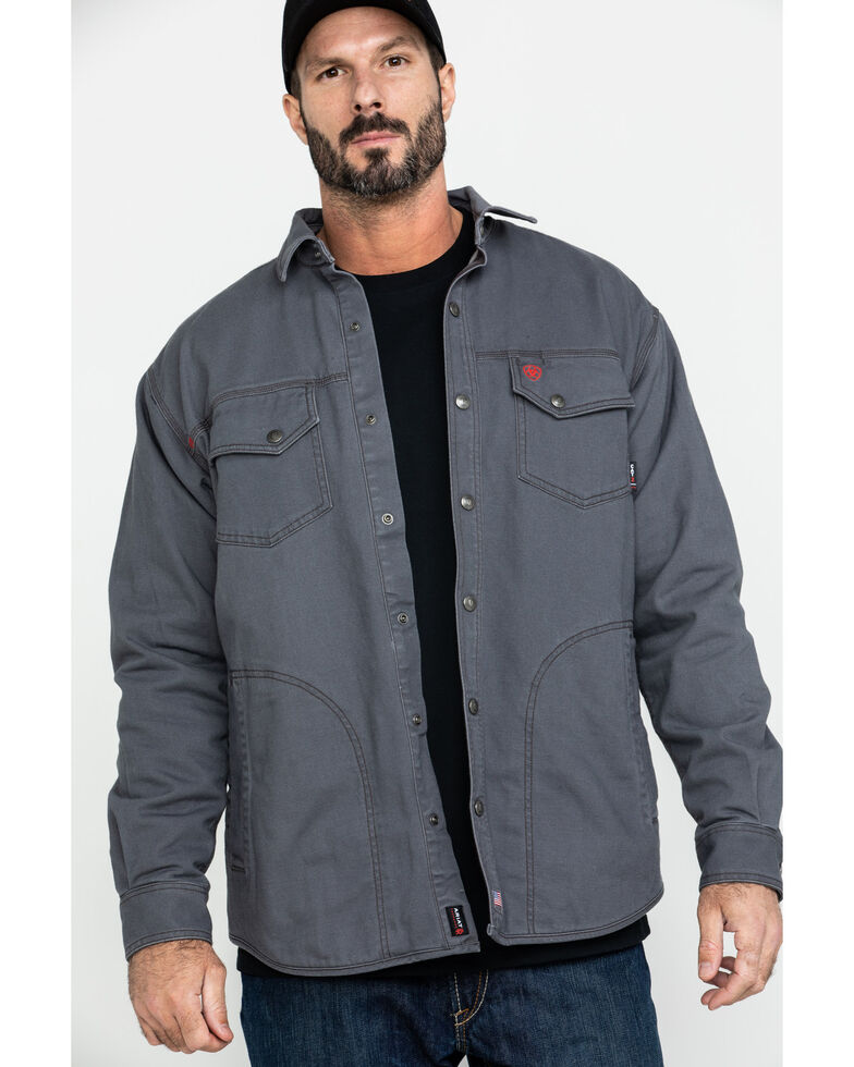 Ariat Men's Grey FR Rig Shirt Work Jacket , Grey, hi-res