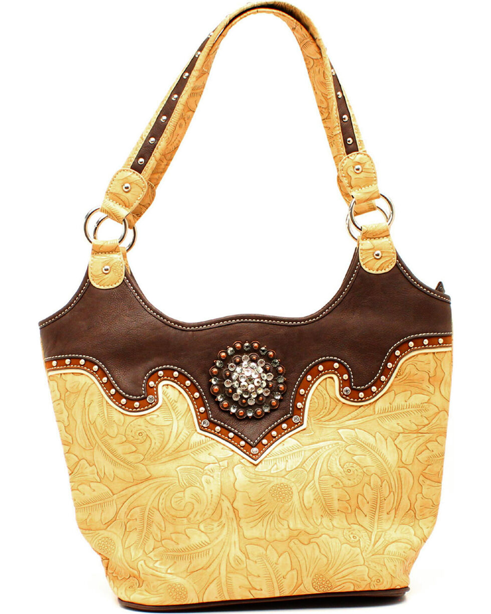 Blazin Roxx Tan Embossed Bucket Shoulder Bag, Tan, hi-res