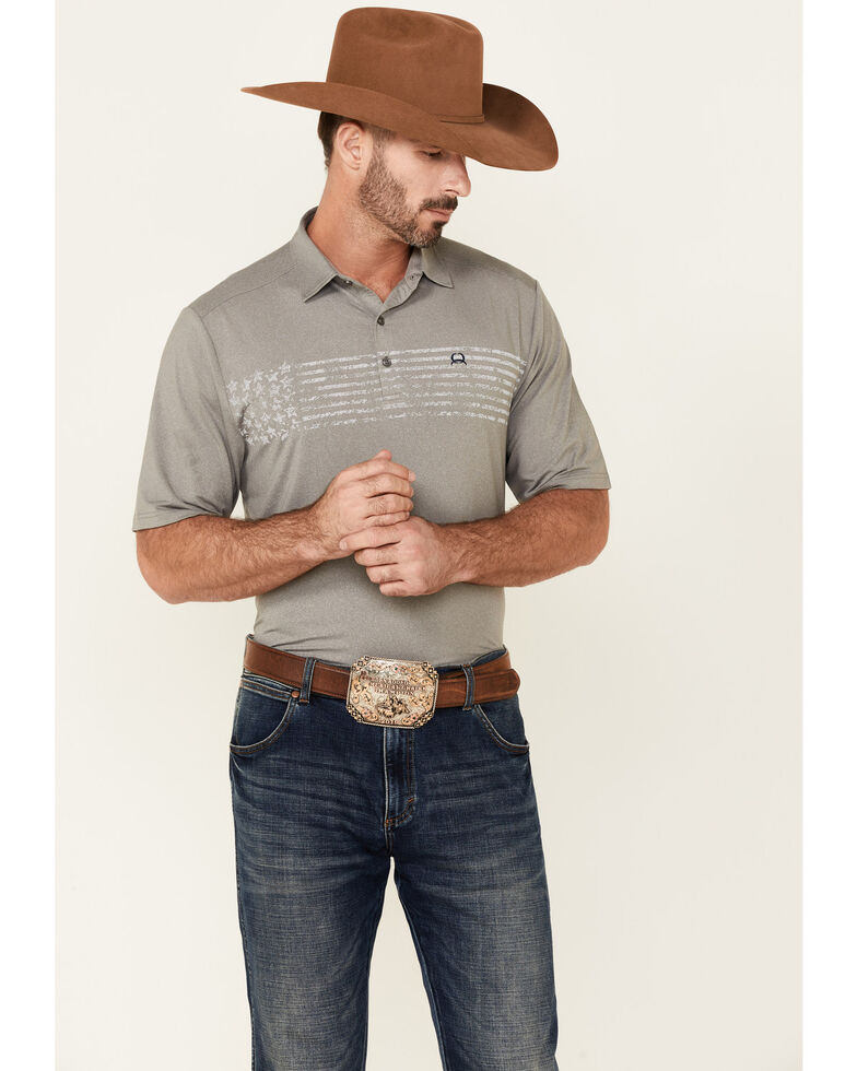Cinch Men's Solid Grey Flag Graphic Short Sleeve Polo Shirt, Grey, hi-res