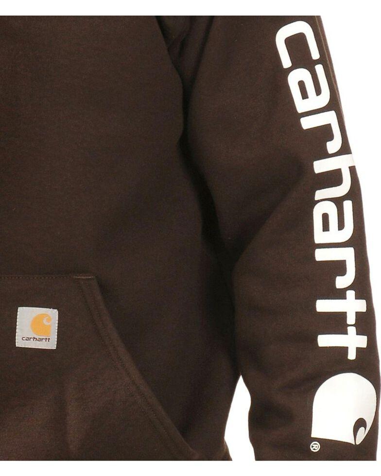 Carhartt Men's Hooded Logo-Sleeve Sweatshirt, Brown, hi-res