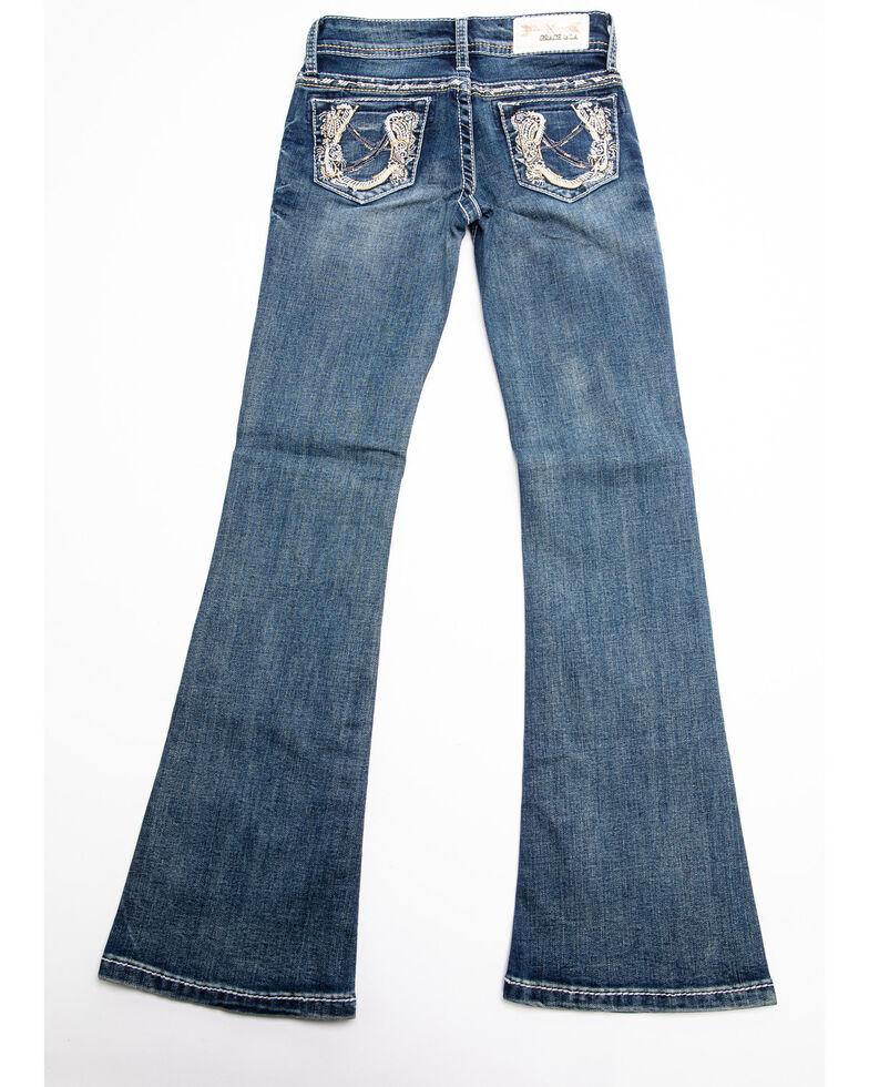 Grace in LA Girls' Horseshoe Bootcut Jeans , Blue, hi-res