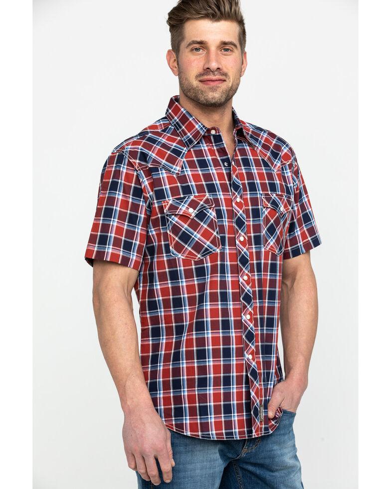 Wrangler Retro Men's Premium Multi Plaid Short Sleeve Western Shirt , Navy, hi-res