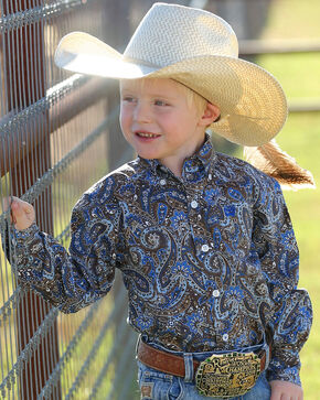 Cinch Toddler Boys' Match Dad Paisley Long Sleeve Button Down Shirt (2T-4T), Multi, hi-res