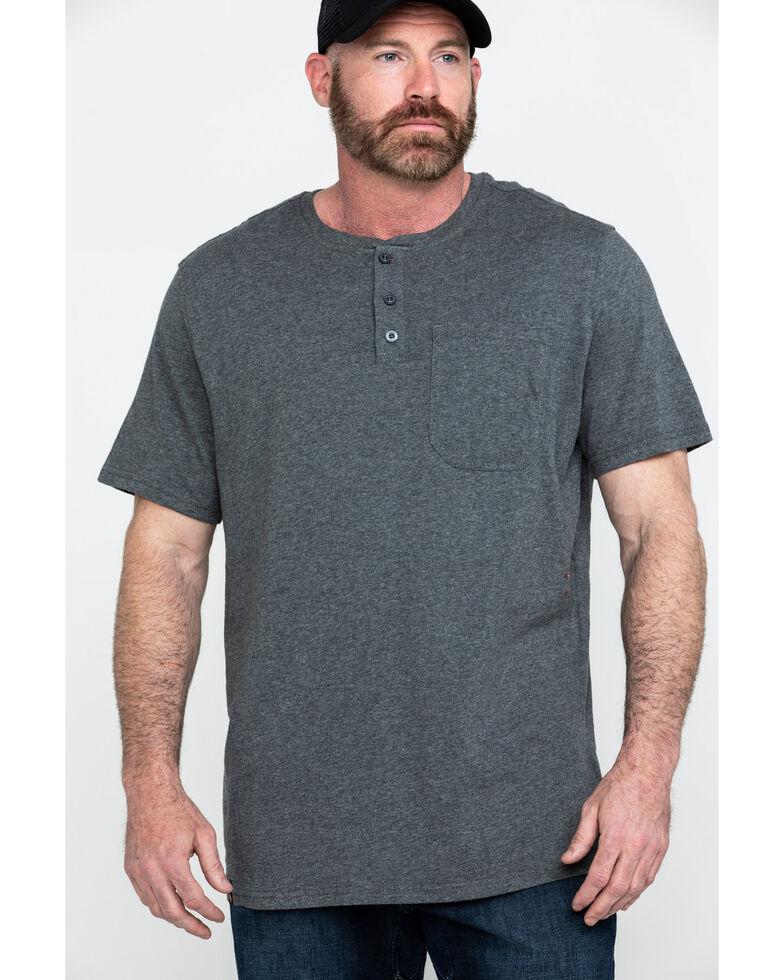 Hawx® Men's Pocket Henley Short Sleeve Work T-Shirt , Charcoal, hi-res