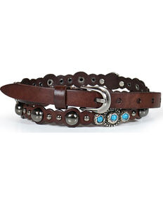 Shyanne® Women's Scallop & Stud Skinny Belt, Multi, hi-res
