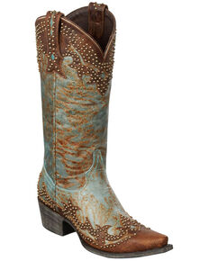 Lane Women's Stephanie Western Fashion Boots, Turquoise, hi-res