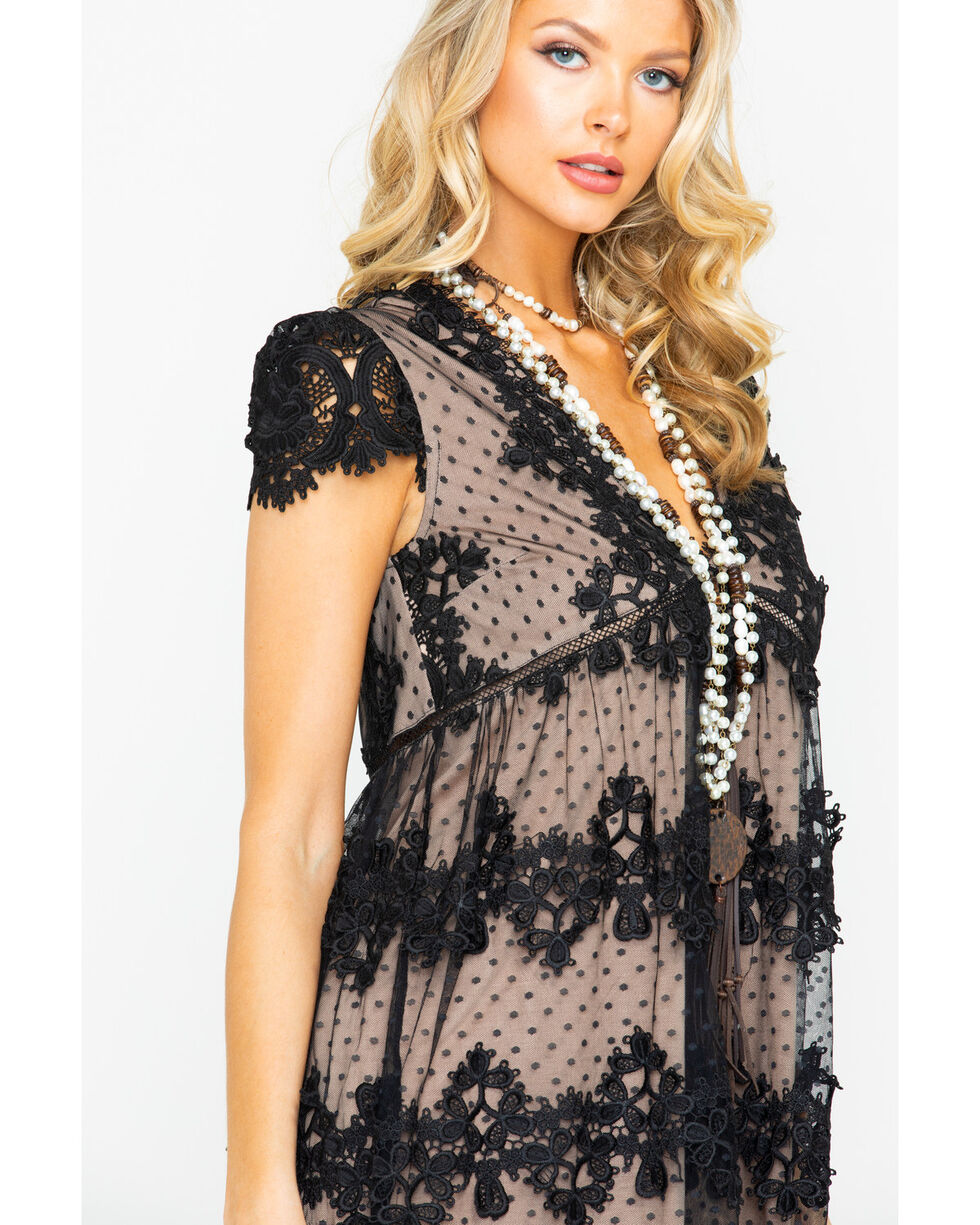 Miss Me Women's Black & Nude Lace Dress, , hi-res