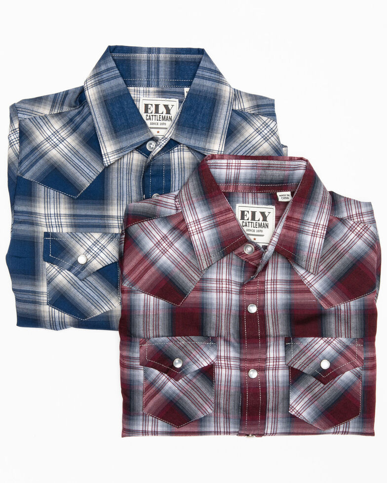 Ely Cattleman Toddler Boys' Assorted Textured Multi Plaid Long Sleeve Western Shirt , Multi, hi-res