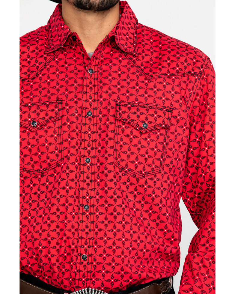Wrangler 20X Men's Advanced Comfort Red Paisley Print Long Sleeve Western Shirt , Red, hi-res