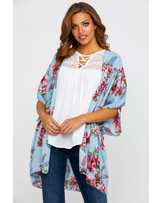 Red Label by Panhandle Women's Blue Floral Kimono, Blue, hi-res