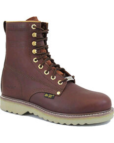 "Ad Tec Men's Full Grain 8"" Steel Toe Work Boots, Mahogany, hi-res"