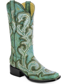 Corral Women's Studded and Embroidered Western Boots, Turquoise, hi-res
