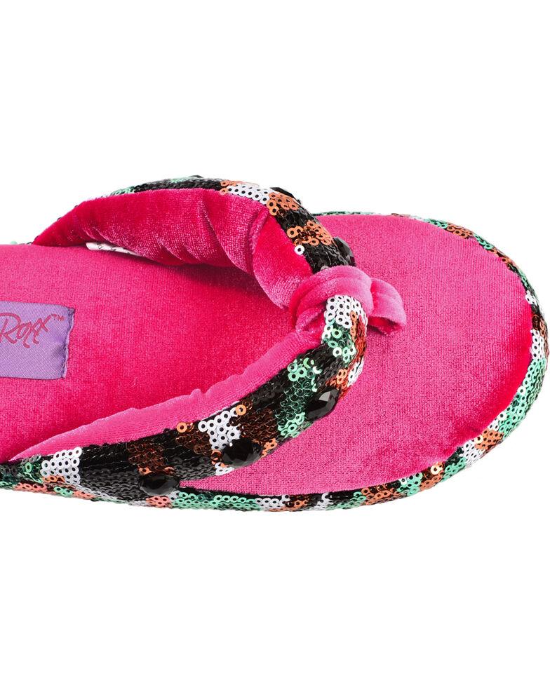 Blazin Roxx Youth Girls' Sequin Camo Flip Flop Slippers, Hot Pink, hi-res