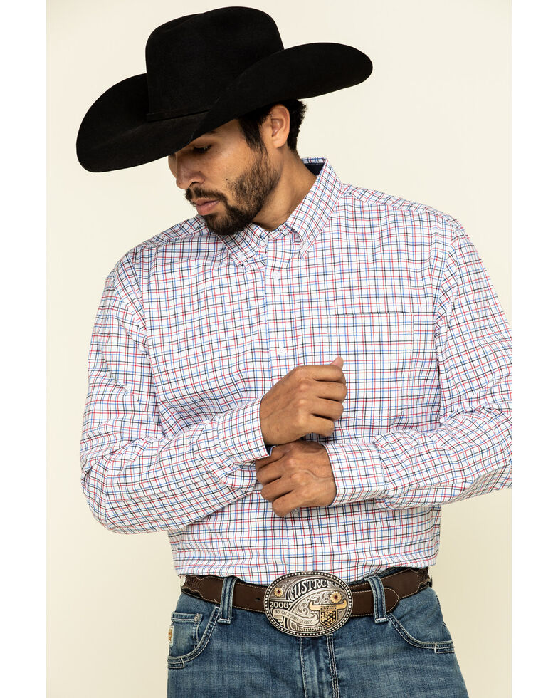 Cody James Core Men's Patriot Small Plaid Long Sleeve Western Shirt , White, hi-res