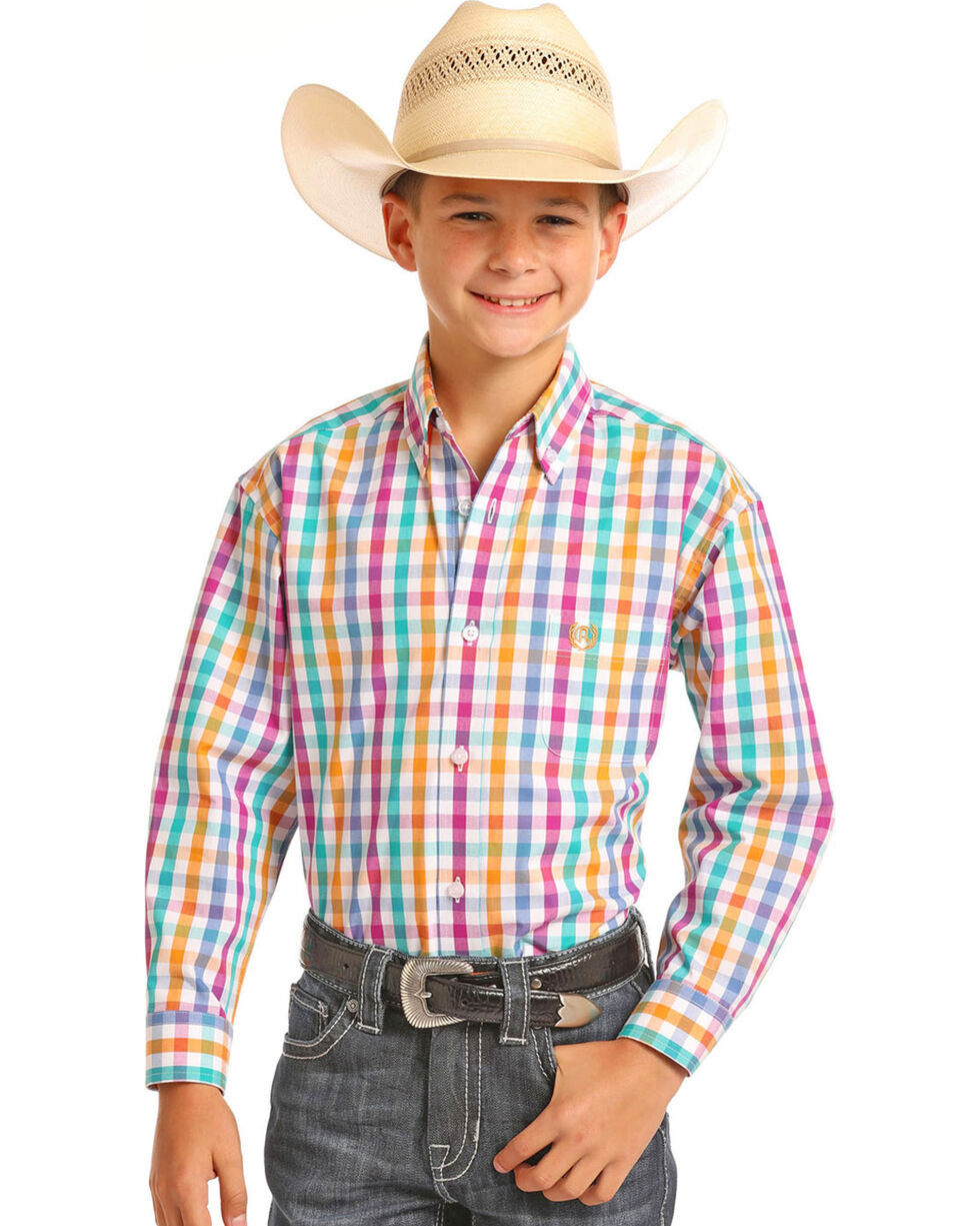 Panhandle Boys' Multi Plaid Long Sleeve Button Down Shirt, Multi, hi-res