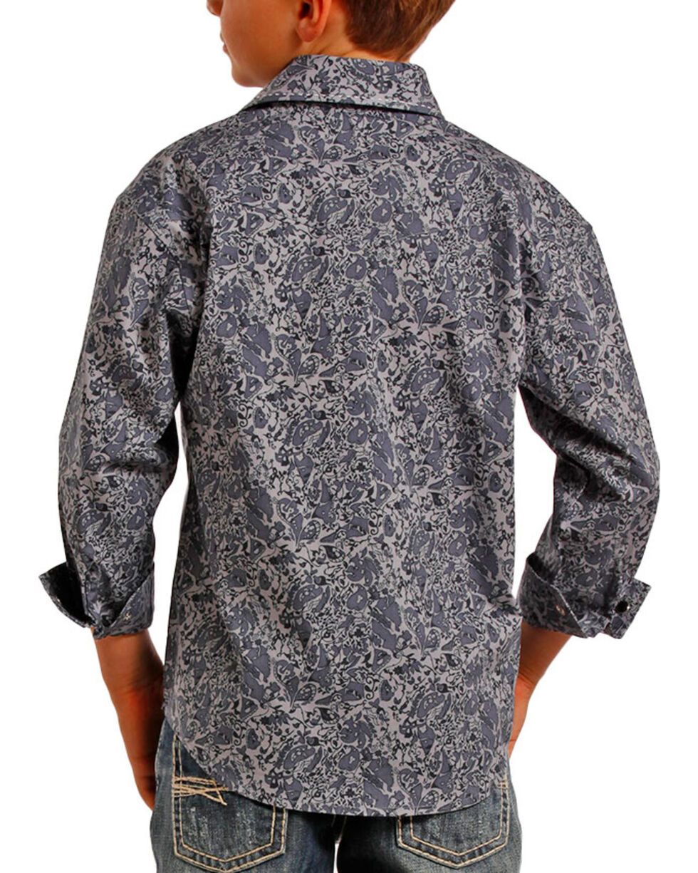 Panhandle Boys' Paisley Printed Long Sleeve Shirt, Grey, hi-res
