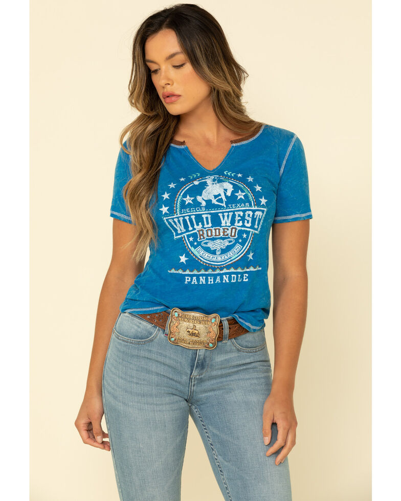 White Label by Panhandle Women's Blue Wild West Short Sleeve Tee, Blue, hi-res