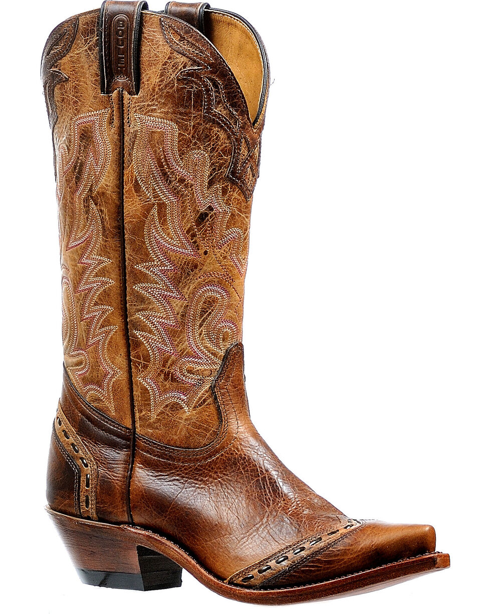 Boulet Women's Damiana Moka Cowgirl Boots - Snip Toe, Brown, hi-res