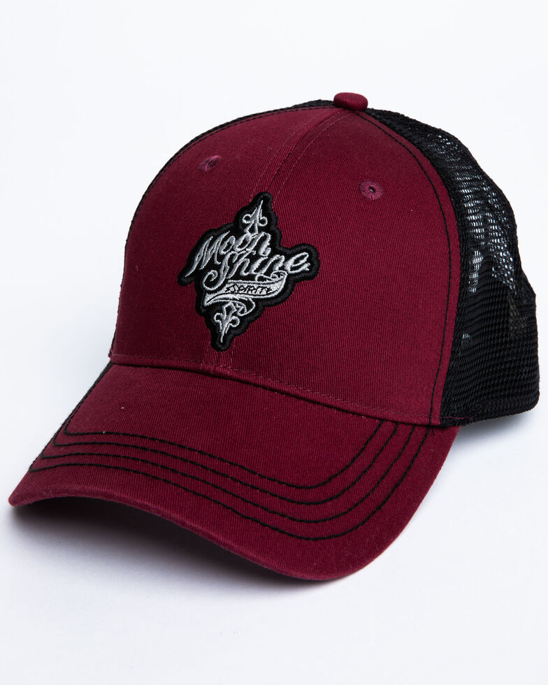 Moonshine Spirit Men's Burgundy Embroidered Logo Mesh Ball Cap, Burgundy, hi-res