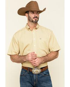 Cinch Men's Arena Flex Gold Geo Print Short Sleeve Western Shirt , Gold, hi-res