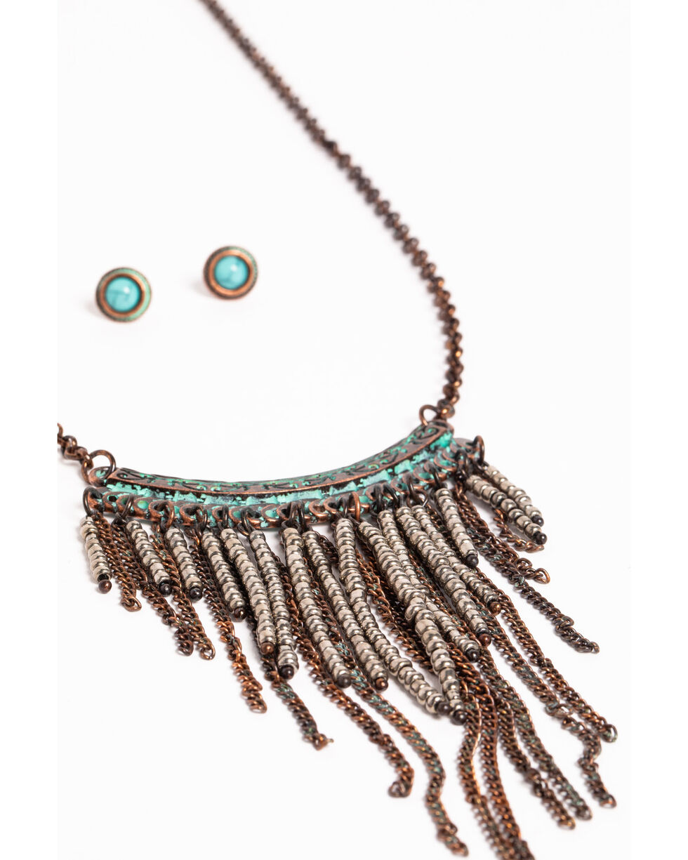 Shyanne Women's Sage Brush Fringe Jewelry Set, Turquoise, hi-res