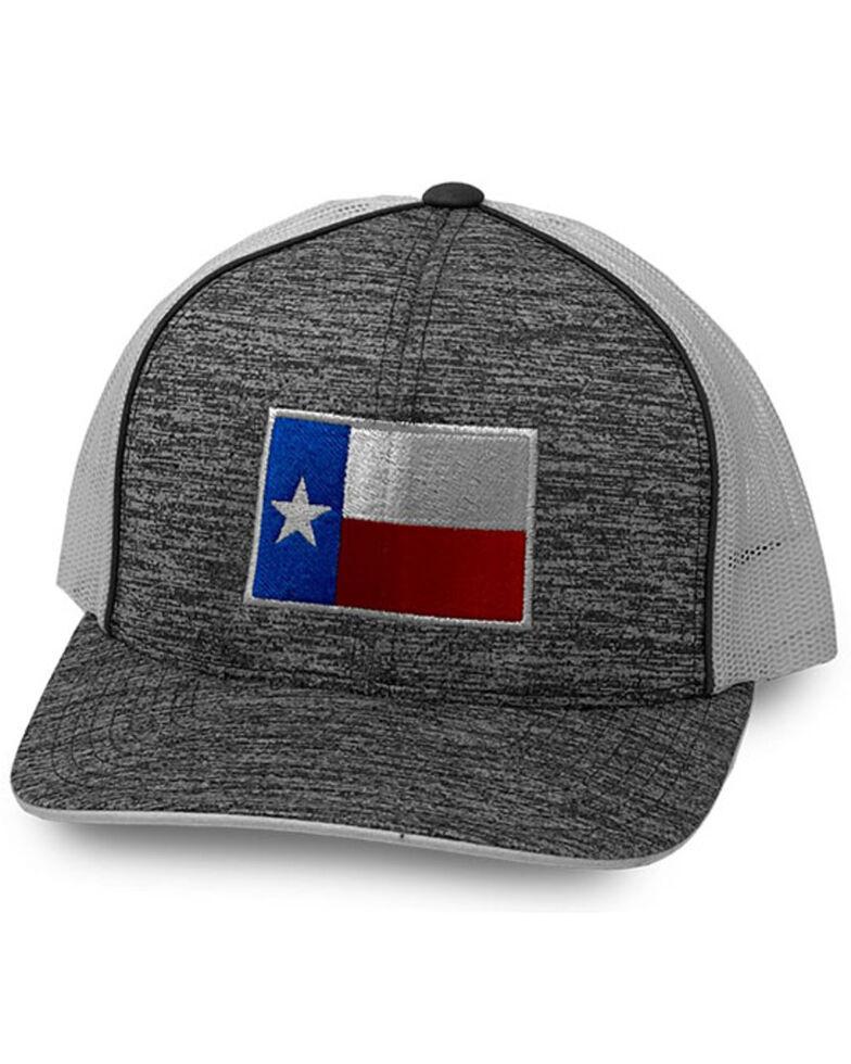 Oil Field Hats Men's Grey Texas Flag Mesh-Back Flex-Fit Ball Cap, Black, hi-res