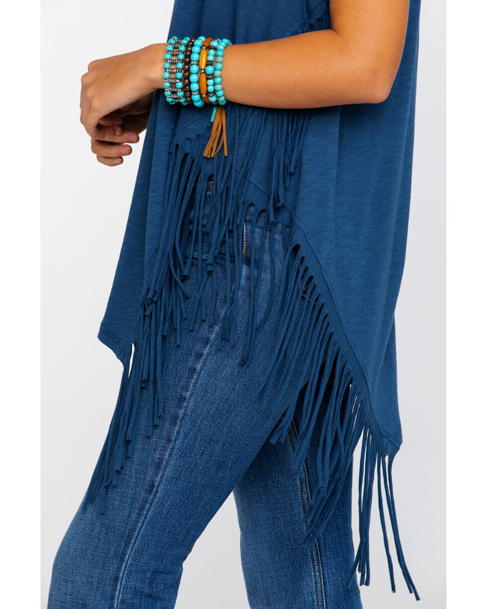 Red Label by Panhandle Women's Navy Asymmetrical Fringe Tank Top, Blue, hi-res