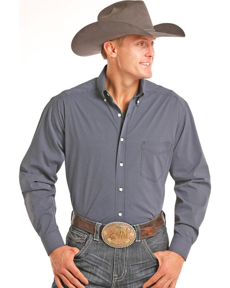 Tuf Cooper Men's Blue Printed Long Sleeve Western Shirt , Blue, hi-res