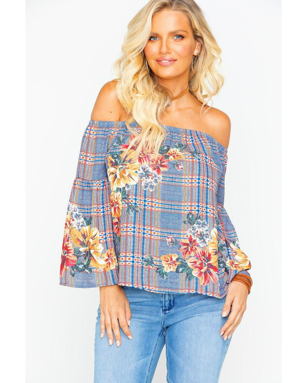 Flying Tomato Women's Plaid Floral Off Shoulder Top , Blue, hi-res
