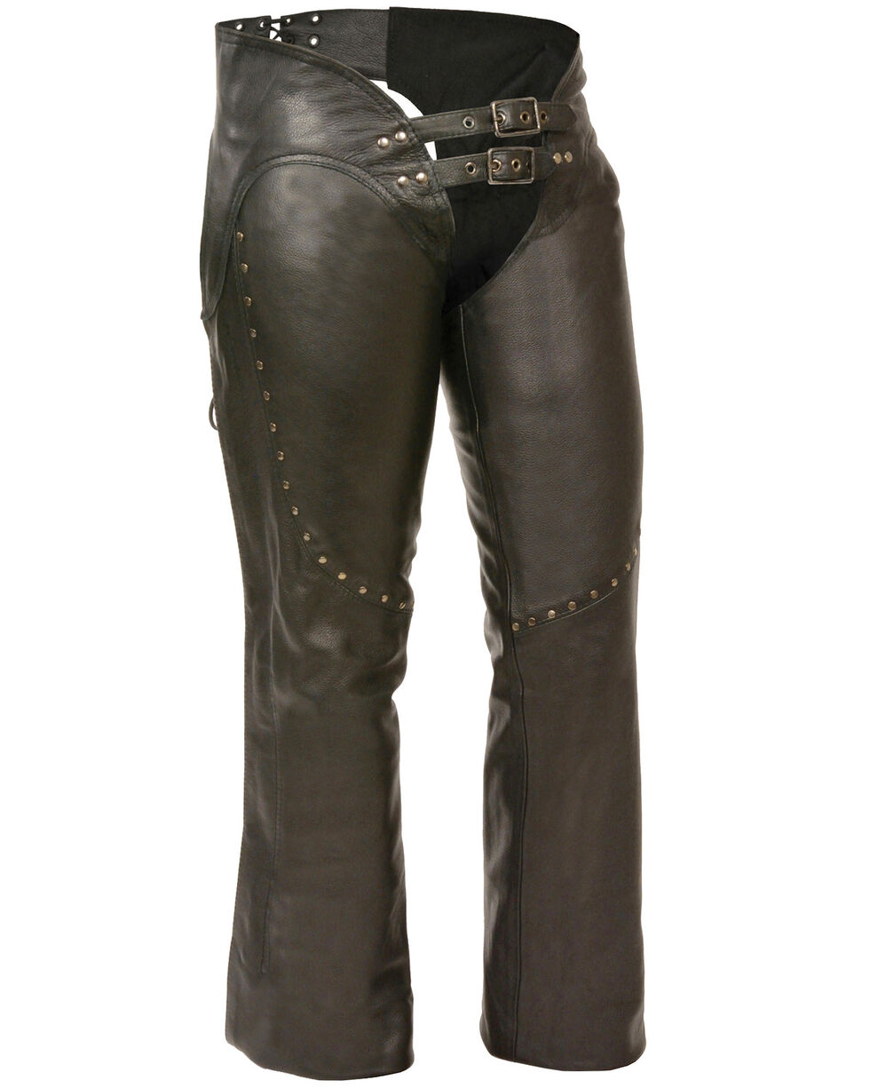 Milwaukee Leather Women's Low Rise Double Buckle Chaps With Stud Detailing - 4X, Black, hi-res