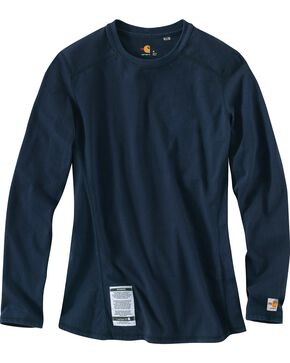 Carhartt Women's Flame Resistant Carhartt Force Long Sleeve Shirt, Navy, hi-res