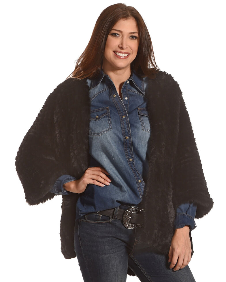 Tractr Women's Faux Fur Cardigan, Black, hi-res