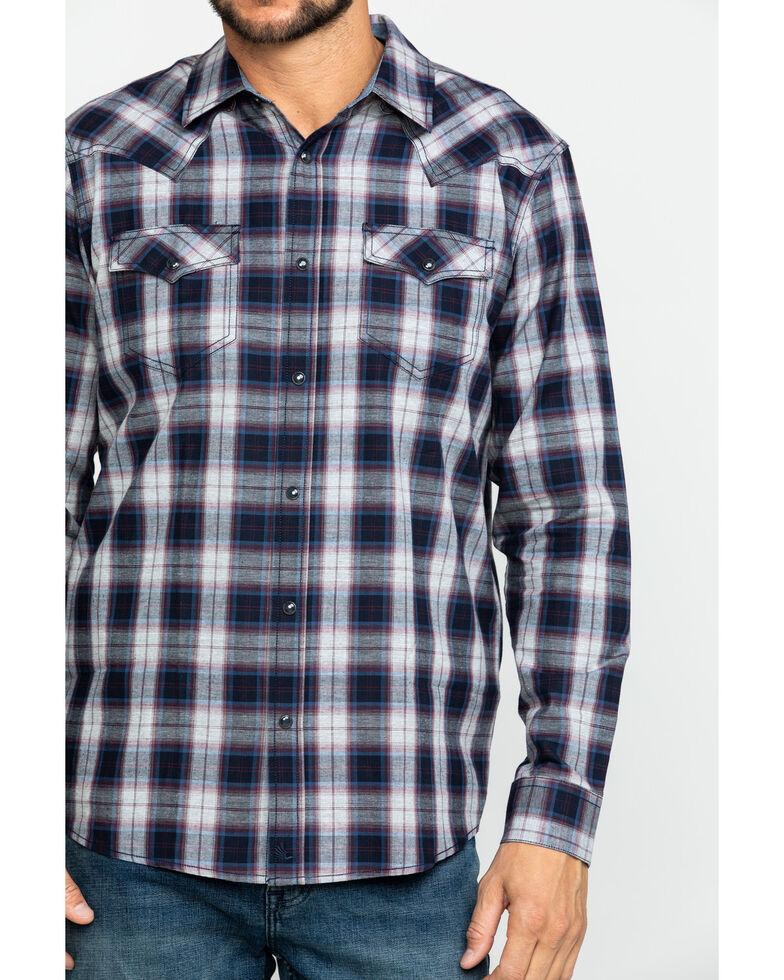 Cody James Men's Plainsman Heathered Plaid Long Sleeve Western Shirt - Tall , Grey, hi-res