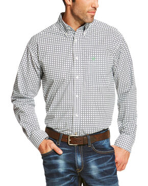 Ariat Men's Check Patterned Button Down Long Sleeve Shirt , White, hi-res