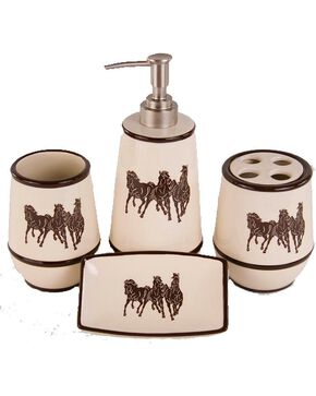 HiEnd Accents Three Horses 4-Piece Bathroom Set, Natural, hi-res