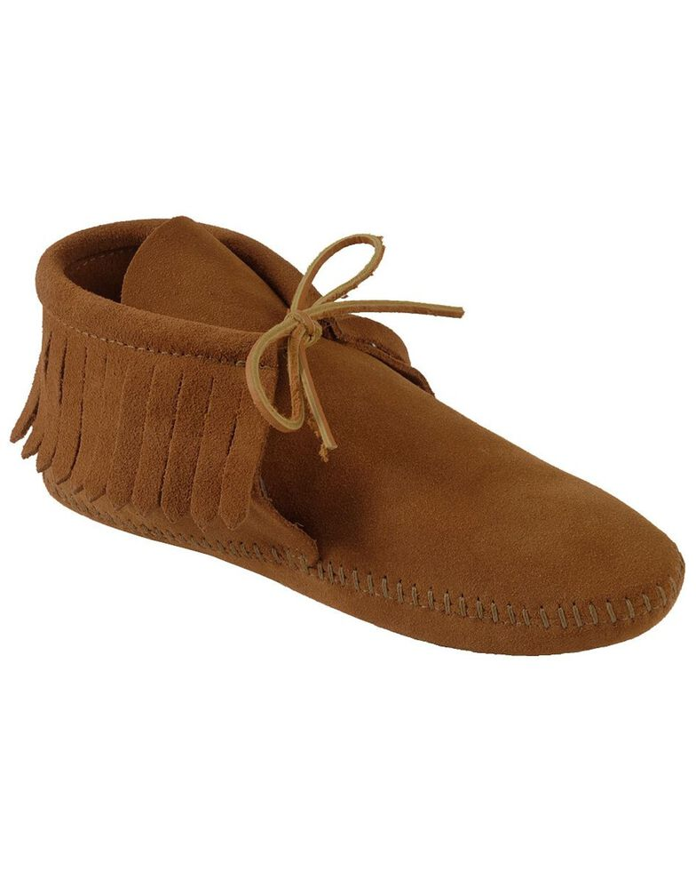 Minnetonka Fringed Soft Sole Moccasins, Brown, hi-res