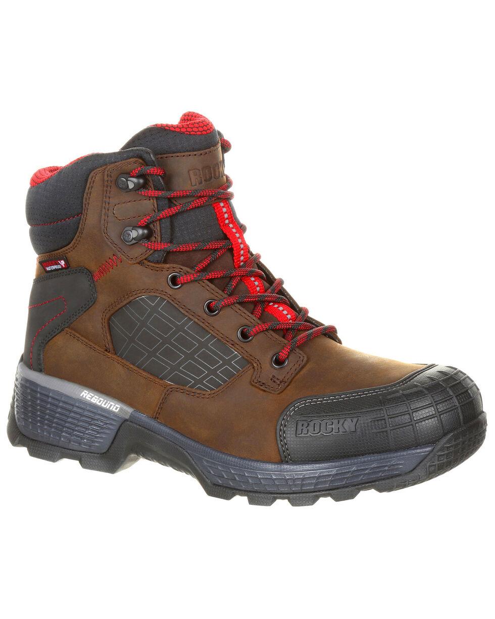 Rocky Men's Treadflex Waterproof Work Boots - Safety Toe, Dark Brown, hi-res
