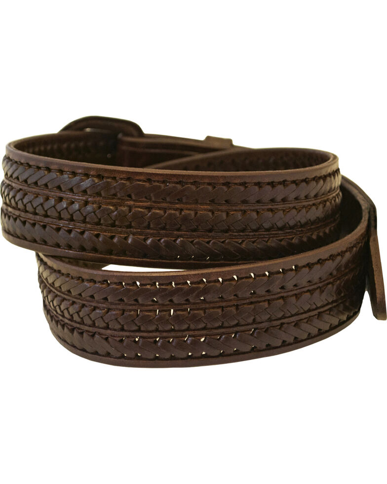 Western Express Men's Braided Leather Belt - Big, Brown, hi-res