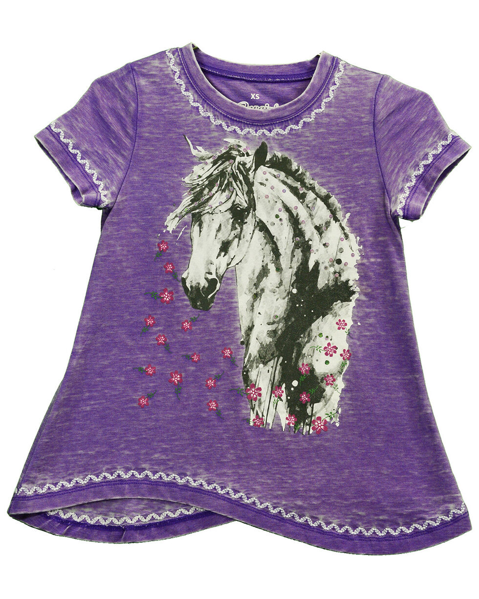 Cowgirl Hardware Girls' Purple Watercolor Horse Short Sleeve Shirt, Purple, hi-res
