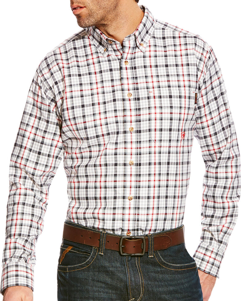 Ariat Men's Briggs Grey Multi FR Plaid Button Work Shirt - Big & Tall, Grey, hi-res