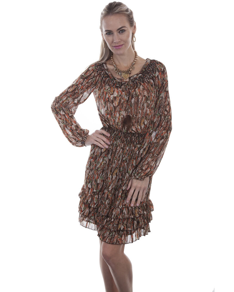 Scully Women's Feather Print Peasant Dress, Chocolate, hi-res