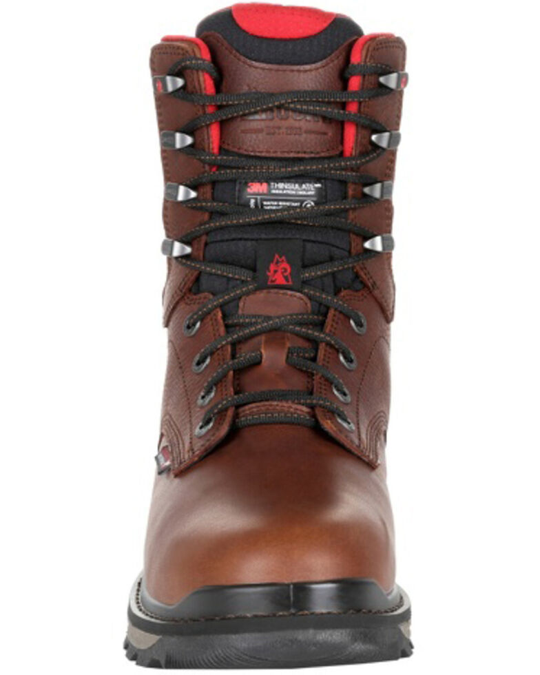 Rocky Men's Rams Horn Waterproof Work Boots - Soft Toe, Dark Brown, hi-res