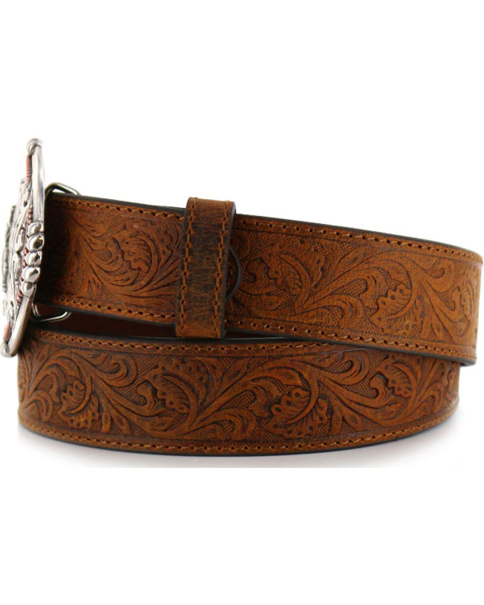 Cody James® Men's Tooled Leather Belt and Buckle, , hi-res