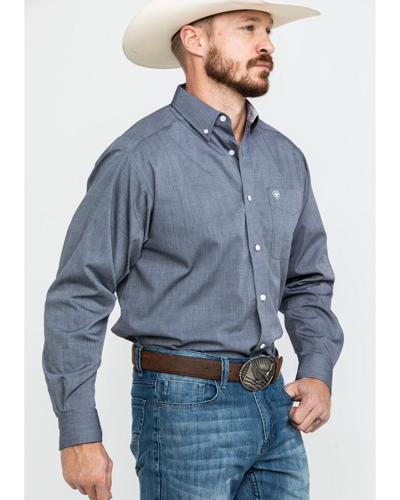 Ariat Men's Wrinkle Free Pinpoint Oxford Solid Long Sleeve Western Shirt , Grey, hi-res
