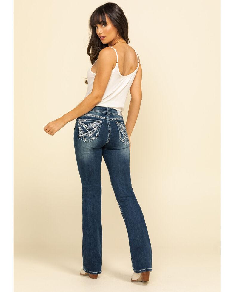 "Grace in LA Women's Mixed Stitch 34"" Bootcut Jeans, Blue, hi-res"