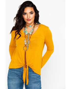 Eyeshadow Women's Front Tie Long Sleeve Knit Top, Dark Yellow, hi-res