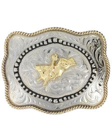 Cody James® Men's Bull Rider Belt Buckle, Silver, hi-res