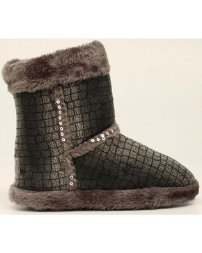 Blazin Roxx Plush Gray Sequin Slipper Booties, Grey, hi-res